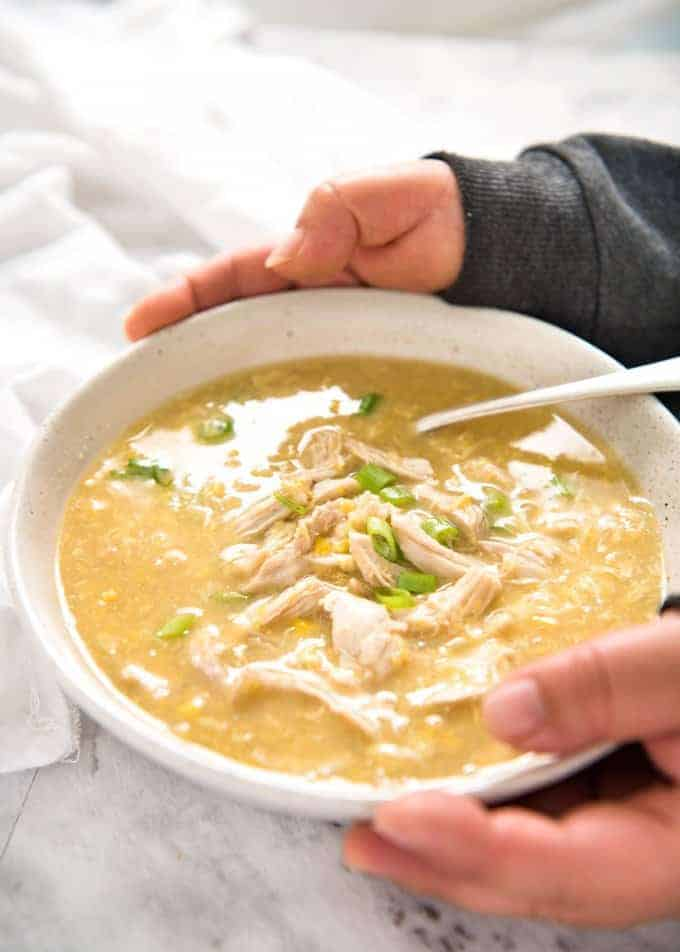 This Chinese Corn Soup with Chicken takes just 15 minutes to make - with no chopping! It